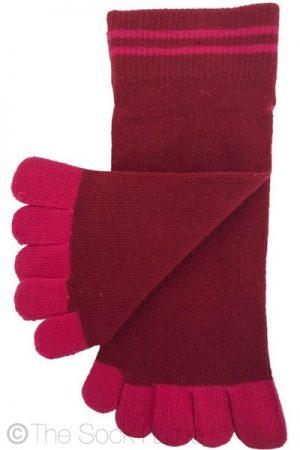 Maroon Pink Toe socks