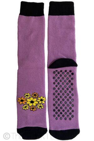 Purple Flower Non Slip socks