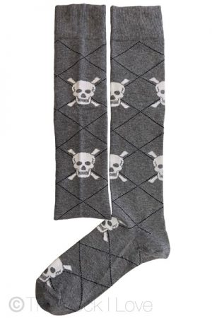 Grey Skull Knee High socks